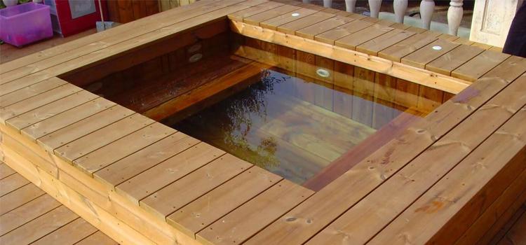 Piscine semi enterr e en bois 100 sur mesure natura for Rechauffeur petite piscine